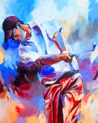 Golf player art paint by number