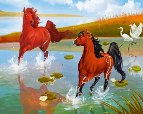 Horses In Pond Paint by numbers
