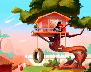 Kid In Tree House Paint by numbers