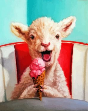 Lamb Eating Ice Cream Paint by numbers