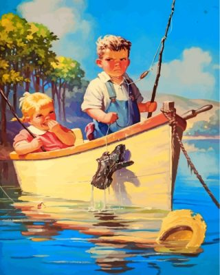 Little Kids On Boat Paint by numbers