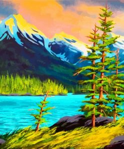 Mountains Landscape Paint by numbers