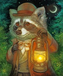Mr Raccoon And Lantern Paint by numbers