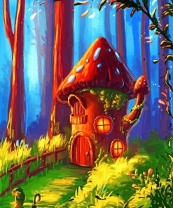 Mushroom Fantasy House Paint by numbers