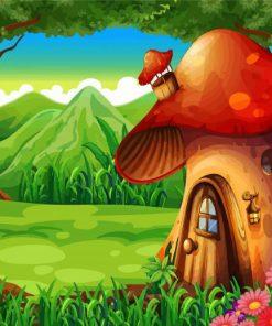 Mushroom House Illustration Paint by numbers