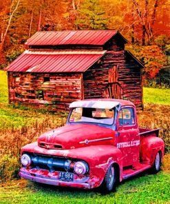 Old Red Ford Truck Paint by numbers