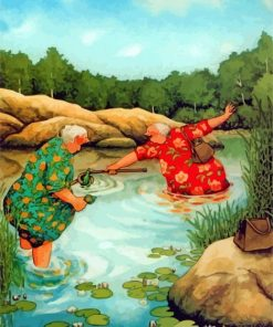 Old Women In River Paint by numbers