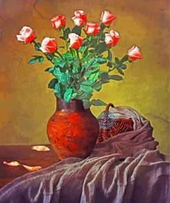 Pink Roses Still Life Paint by numbers