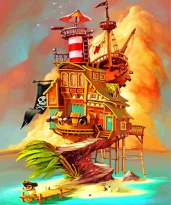 Pirate Ship House Paint by numbers
