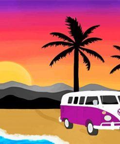 Purple Volkswagen Bus Paint by numbers