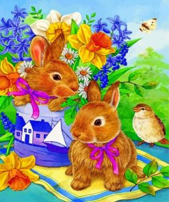 Rabbits And Bird Paint by numbers