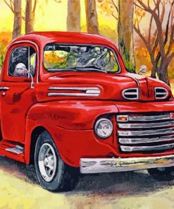 Red Pick Up Truck Paint by numbers