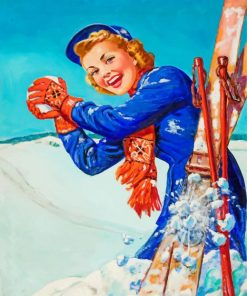 Retro Skiing Girl Paint by numbers
