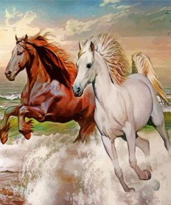 Running Horses In Sea Paint by numbers