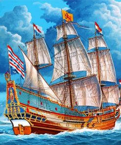 Sail Ship In Sea Paint by numbers