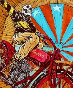 Skull On Motorcycle Paint by Numbers