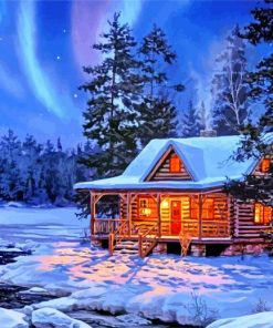 Snow Winter Cottage Paint by numbers