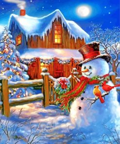 Snowman And Birds Paint by numbers