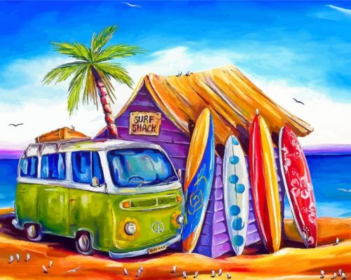 Surfboards And Camper Van Paint by numbers