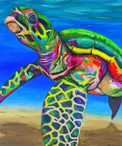 Tropical Colorful Sea Turtle Paint by numbers