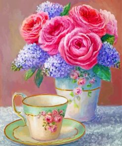 Vintage Flowers Vase And Cup Paint by numbers