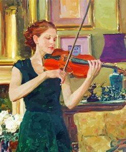 Vintage Violinist Girl Paint by numbers