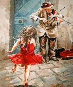 Violinist Man And Girl Paint by numbers