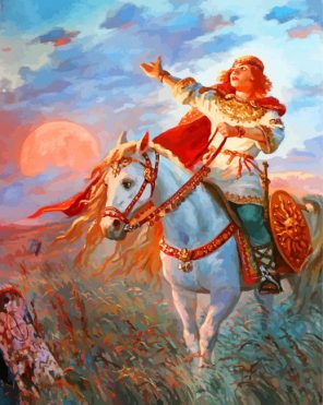 Warrior On Horse Paint by numbers