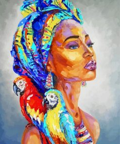 aesthetic-african-woman-and-parrots-paint-by-numbers