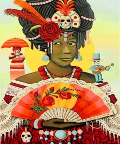 black-woman-and-skulls-paint-by-number