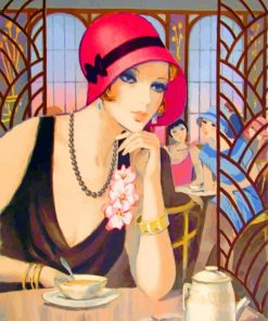 Deco Lady Drinking Coffee paint by numbers