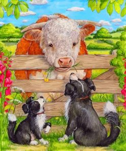 dogs-and-cow-paint-by-numbers