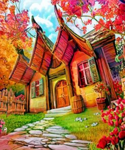 Fantasy House In The Forest Paint by numbers