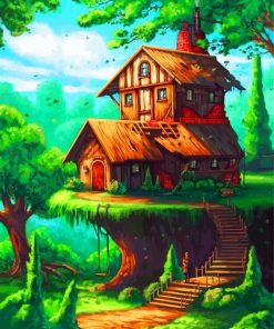 Fantasy House In Woods Paint by numbers