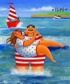 Fat Couples On The Beach Paint by numbers