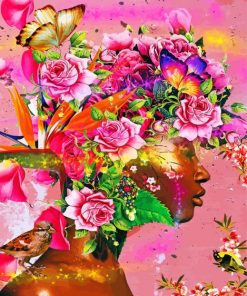 floral-black-woman-paint-by-numbers