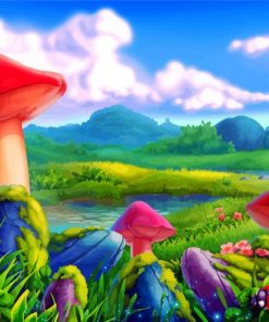 Ladybugs And Mushrooms Paint by numbers