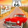 red-car-Route-66-paint-by-number