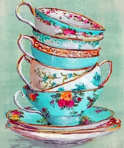 Stacked Up Tea Cups Paint by numbers