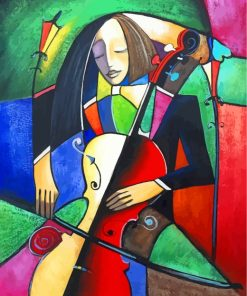 Abstract Cello Player Paint by numbers