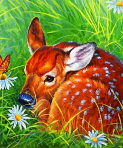 Aesthetic Deer And Butterfly Paint by numbers
