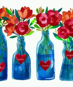 Aesthetic Flowers In Glass Paint by numbers