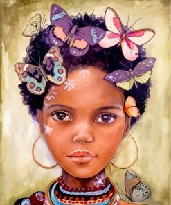 African Girl And Butterflies Paint by numbers