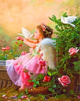 Angel Girl In Garden Paint by numbers