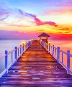 Beach Pier At Sunset Paint by numbers