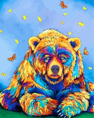 Bear And Butterflies Paint by numbers