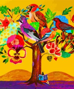 Birds Flowers Tree Paint by numbers