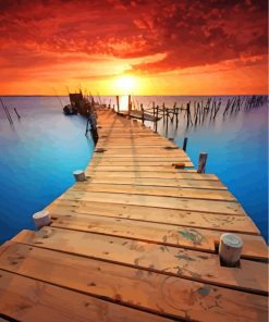 Boardwalk Into Sunset Paint by numbers