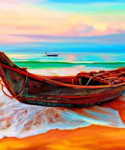 Boats By Beach Paint by numbers