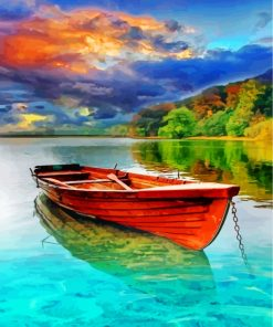 Boat On Lake Paint by numbers